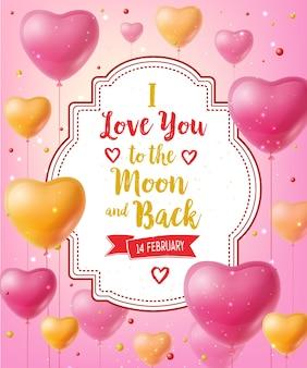 Ti amo lettering con palloncini
