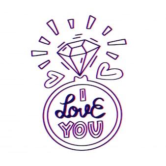 Ti amo lettering Vettore Premium
