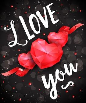 Ti amo lettering romantico con cuori