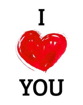 Ti amo con il cuore in stile acquerello Vettore Premium