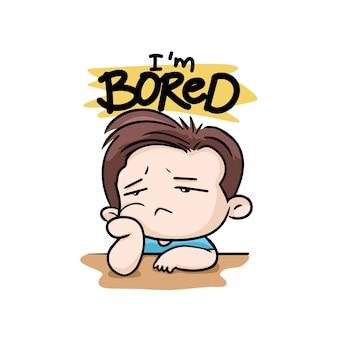 Sono annoiato con il vettore della mascotte del fumetto dell'illustrazione del ragazzo