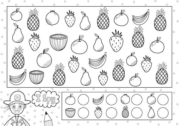 Gioco di spionaggio pagina da colorare per bambini trova e conta i frutti cerca lo stesso oggetto puzzle in bianco e nero quanti elementi ci sono
