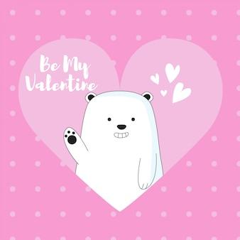 Orso di ghiaccio carino carta di san valentino