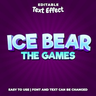 Ice bear the games logo modificabile stile effetto testo