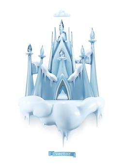Castello di ghiaccio. oggetto vettoriale 3d in stile cartone animato