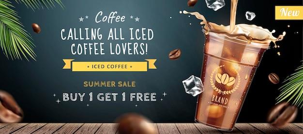 Banner di caffè ghiacciato con tazza di caffè da asporto sulla superficie della lavagna in stile 3d