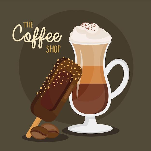 Caffè ghiacciato in tazza da bere e gelato con scritte