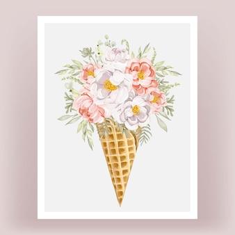 Cono di ghiaccio con peonie fiore dell'acquerello bianco rosa pesca