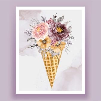 Cono di ghiaccio con fiore dell'acquerello viola rosa vintage