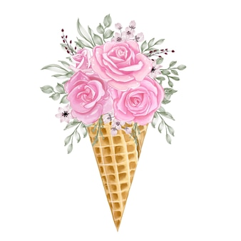 Cono di ghiaccio con illustrazione rosa rosa fiore dell'acquerello
