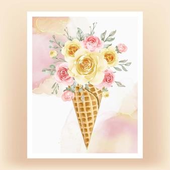 Cono di ghiaccio con pesca gialla fiore dell'acquerello