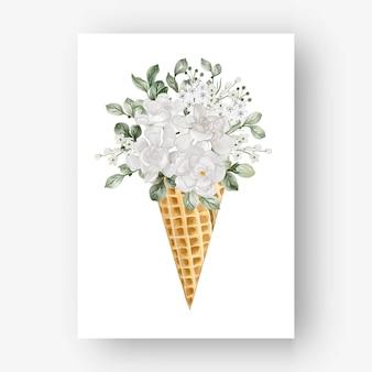 Cono di ghiaccio con fiore bianco di gardenia acquerello