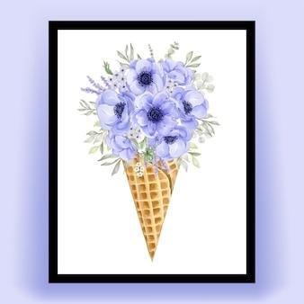 Cono di ghiaccio con fiore di anemone viola dell'acquerello