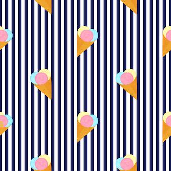 Palline di gelato in un cono di cialda. strisce verticali modello senza cuciture di estate.