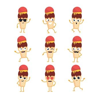 Personaggio dei cartoni animati di gelato - set di modelli vettoriali moderni di illustrazioni di mascotte - ballare, sorridere, divertirsi. emoticon, emozioni, freddezza, sorpresa, lampeggiamento