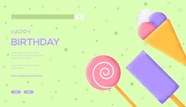 Volantino del concetto di gelato, banner web, intestazione dell'interfaccia utente, entra nel sito. consistenza del grano ed effetto rumore.