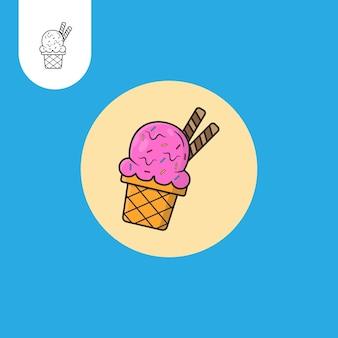 Cono gelato icona del fumetto illustrazione cibo dolce icona concetto isolato piatto stile cartone animato