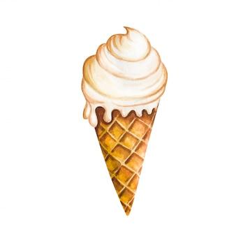Cono gelato isolato su fondo bianco