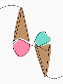 Cono gelato una linea continua arte
