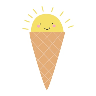 Cono gelato a forma di sole gelato simpatico cartone animato illustrazione piatta vettoriale
