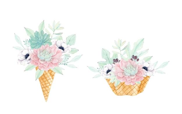 Cono gelato con bellissimi fiori succulenti e anemoni