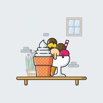 Illustrazioni dell'icona dei coni di gelato. concetto dell'icona di estate.