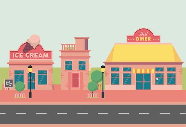Strada del gelato e della tavola calda