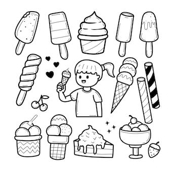 Insieme di doodle di gelato