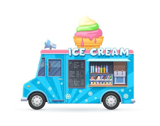 Camion di gelato, furgone isolato, auto dei cartoni animati per la vendita di dessert gelato di cibo di strada. caffetteria o ristorante su ruote con assortimento di gelati, altoparlante su tavola e lavagna