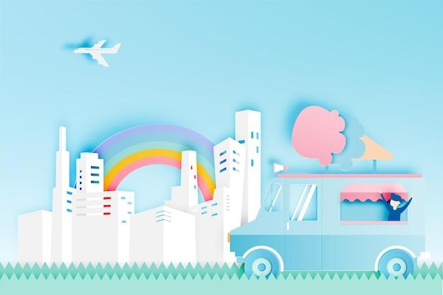 Camion di cibo gelato in carta con la città.