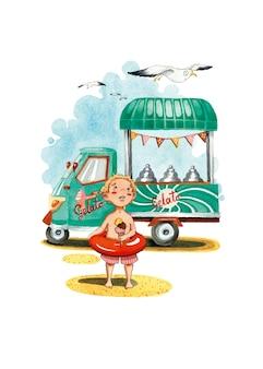 Illustrazione dell'acquerello del ragazzo e del gabbiano di estate del carretto del gelato del gelato