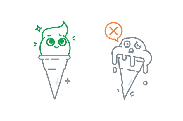 Illustrazione del gelato in diversi stati gelato fuso