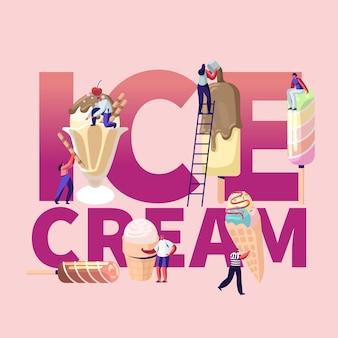 Illustrazione di gelato con persone in possesso di coni gelato