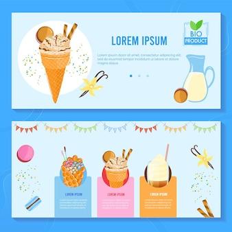Insieme dell'illustrazione del negozio di frappè del gelato.