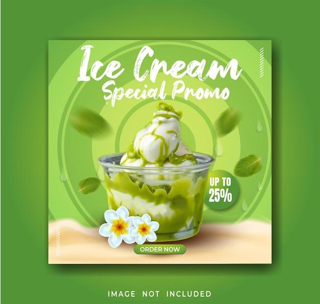 Modello di banner post instagram per la promozione del gelato sui social media