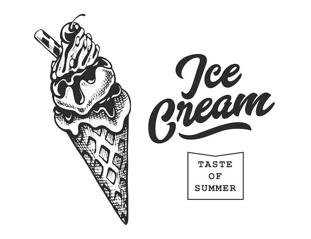 Emblema retrò di gelato. modello di logo. testo in bianco e nero e schizzo di gelato. illustrazione vettoriale eps10.
