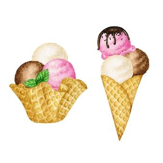 Palline gelato decorate con foglia di menta in cono di cialda gustoso set. illustrazione dell'acquerello