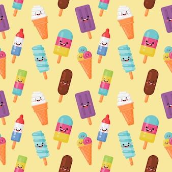 Stile kawaii divertente fast food gelato senza cuciture su crema
