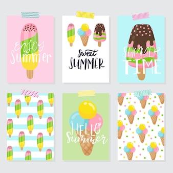 Insieme del gelato. illustrazione estiva con scritte. vettore. buono per panetteria, bar, ristorante, poster, cartelloni, biglietti ed etichette.