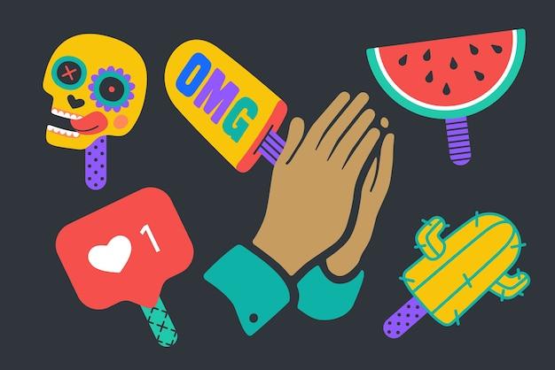 Adesivi gelato. divertenti adesivi colorati per marchio di gelati, negozio, bar, tema gelato.