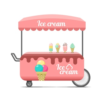 Carrello per street food di gelato. illustrazione colorata