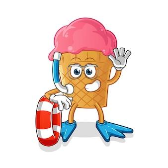 Nuotatore gelato con mascotte boa
