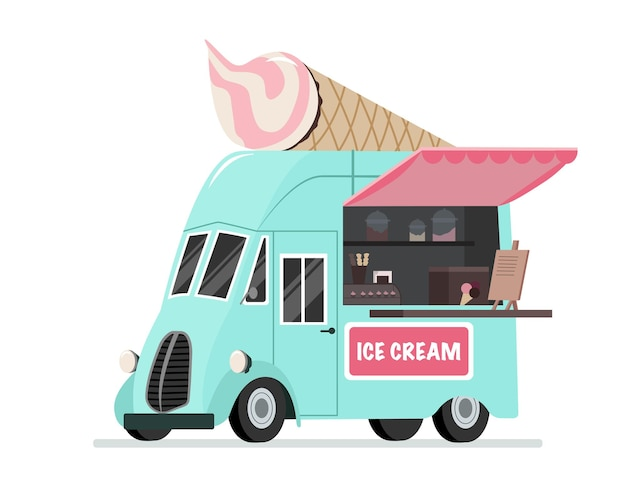 Camion dei gelati street fast food un mulino a vento che vende negozio di dolciumi