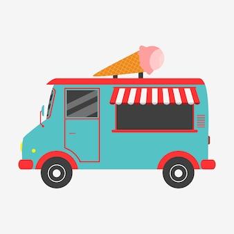Camion dei gelati. illustrazione vettoriale in stile piatto.