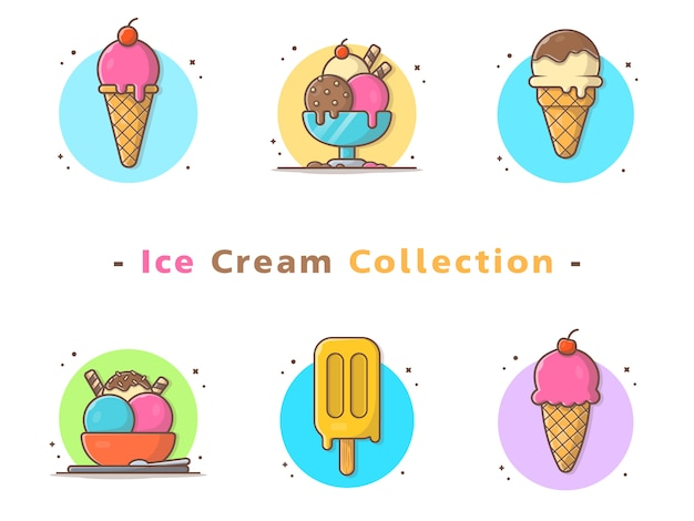 Raccolta di gelati vettoriali