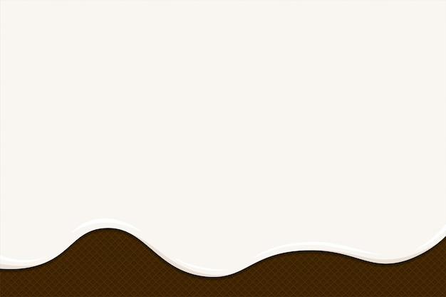 Gelato o yogurt si sciolgono su waffle al cioccolato. gocce bianche cremose o liquide al latte scorrono sui biscotti croccanti tostati. struttura della torta dolce di wafer smaltato. modello di sfondo vuoto vettoriale per banner o poster