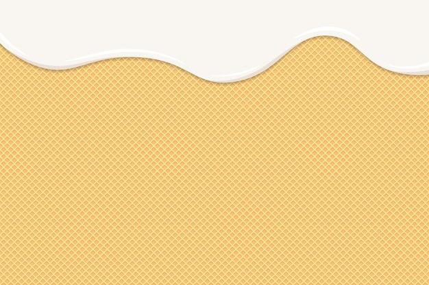 Gelato o yogurt si sciolgono sulla cialda. gocce bianche cremose o liquide al latte scorrono sui biscotti croccanti tostati. struttura della torta dolce di wafer smaltato. modello di sfondo per l'illustrazione vettoriale di banner o poster