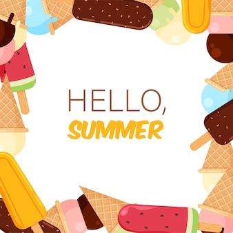 Cornice per gelati in stile cartone animato alla moda icecream summer