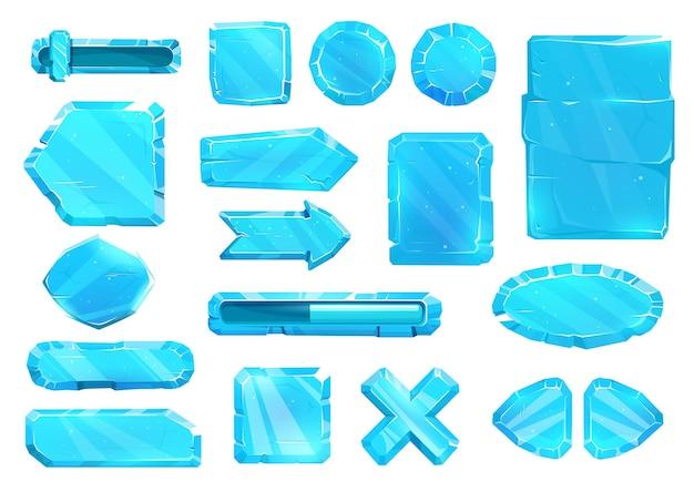 Interfaccia del pannello utente di cristallo di ghiaccio, pulsanti, piastre di scorrimento e tasti freccia, set di interfaccia utente delle risorse di gioco vettoriale. pulsanti blue ice ux e gui per il gioco, menu dei cartoni animati con livello del volume di alimentazione e frecce di navigazione del menu