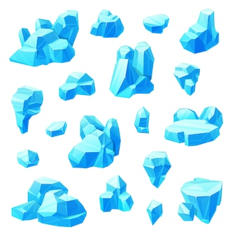Insieme del fumetto di cristalli di ghiaccio di acqua congelata.